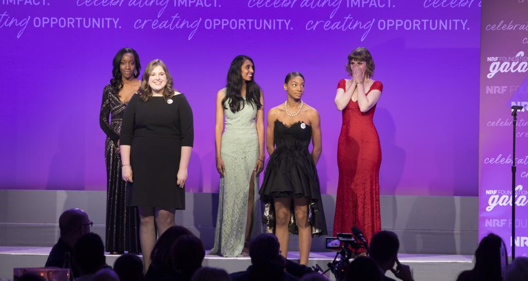 2019 Next Generation Scholarship finalists on stage at the NEF Foundation Gala