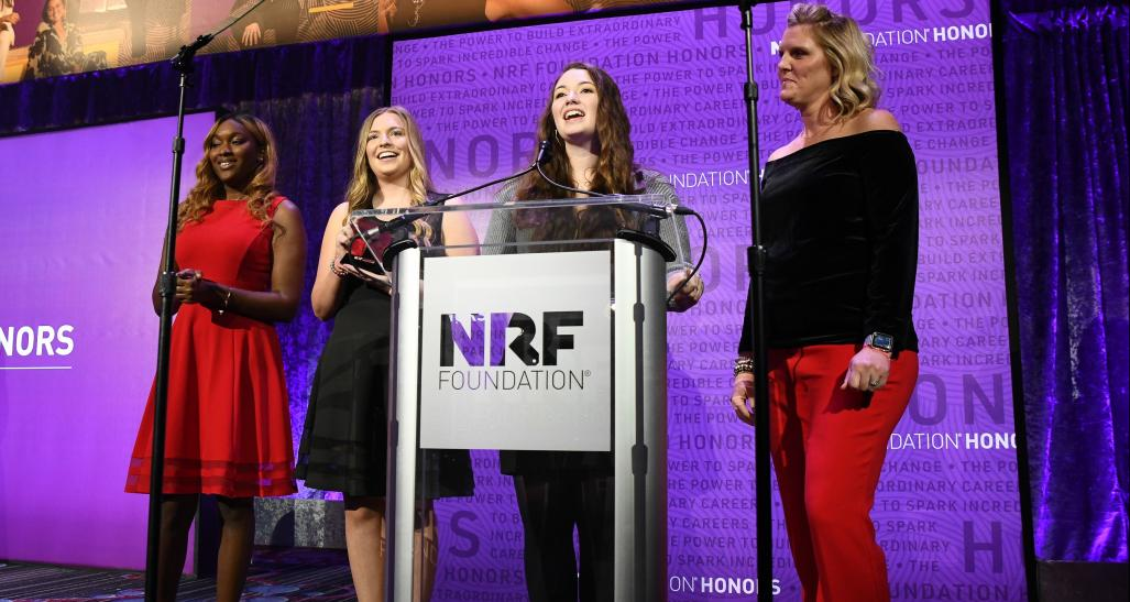 NRF Foundation Student Challenge 2020 top team on stage at the Honors