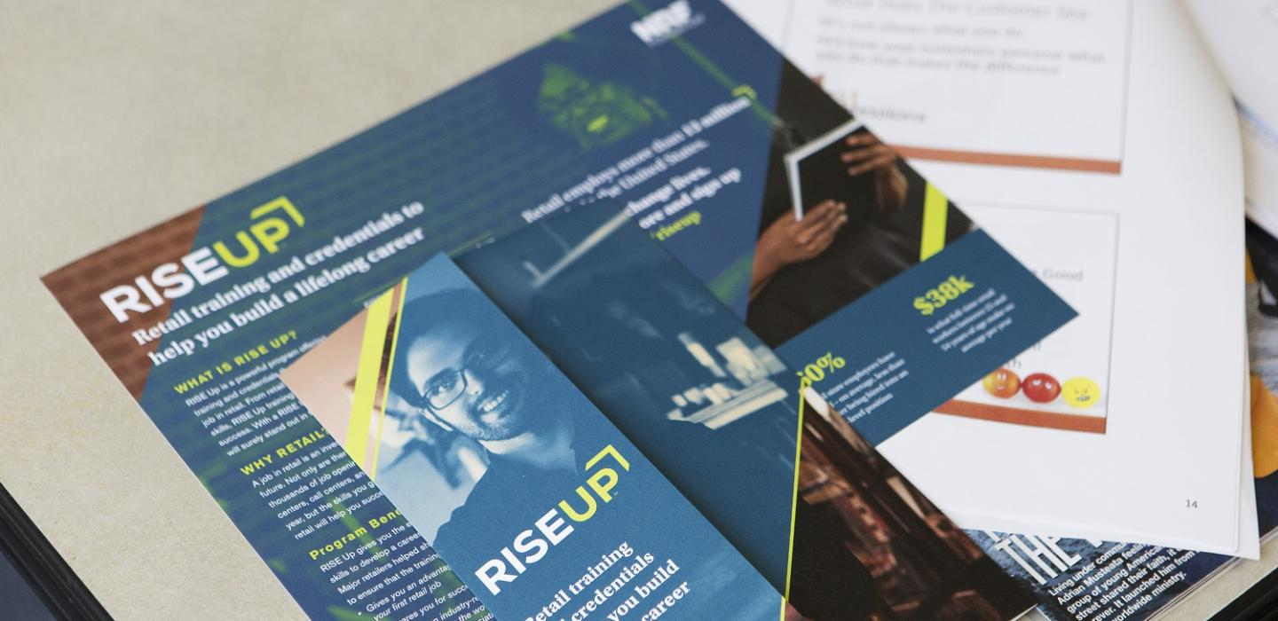 RISE Up brochures at a training partner facility