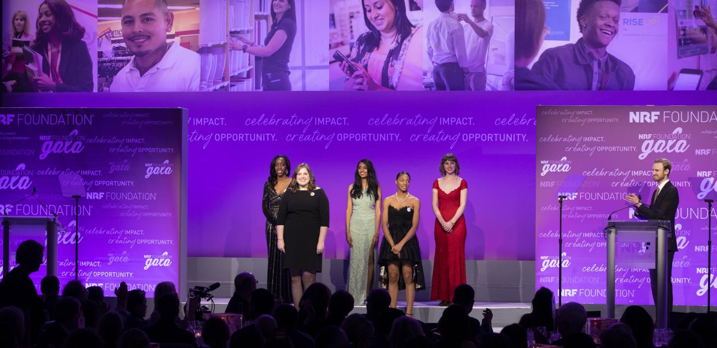 Next Generation Scholarship finalists on stage at the 2019 NRF Foundation Gala