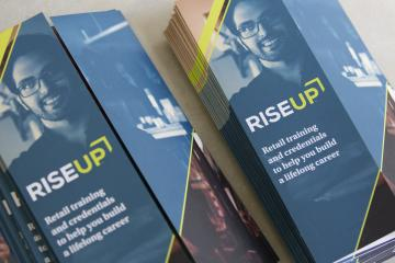 RISE Up brochures at a training center