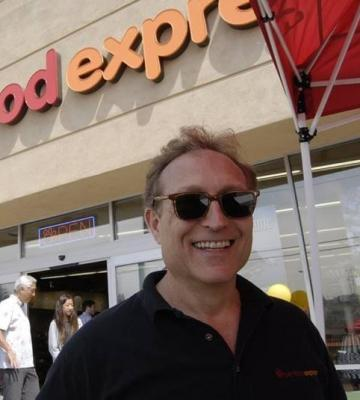 Michael Levy, the founder and CEO of Pet Food Express, outside of one of his stores