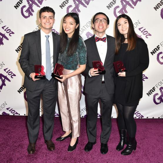 Jake Fischer, Holly Li, David Pang, Aneesa Lee all posing for a picture at the NRF Foundation 2018 Gala